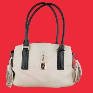 Dana Buchman black & white leather satchel tassel